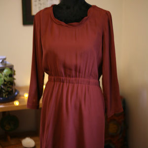 Anthropologie brown silk mini dress